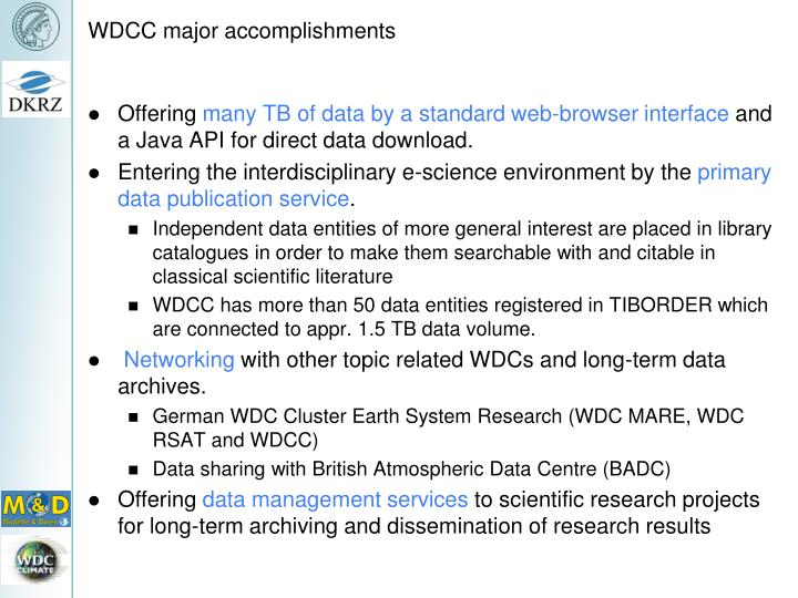 WDCC major accomplishments