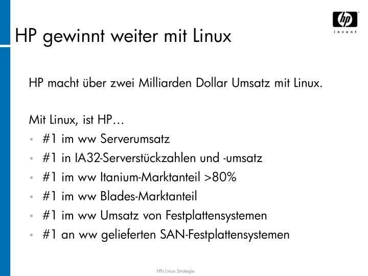 HP macht über zwei Milliarden Dollar Umsatz mit Linux.