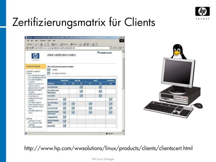 Zertifizierungsmatrix für Clients