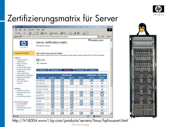 Zertifizierungsmatrix für Server