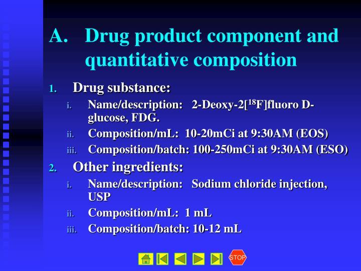 A. Drug product component and quantitative composition