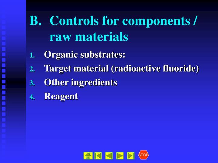 B.Controls for components / raw materials