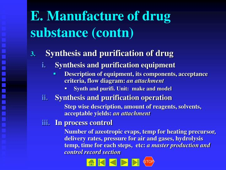 E. Manufacture of drug substance (contn)