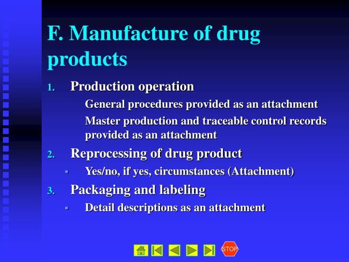 F. Manufacture of drug products