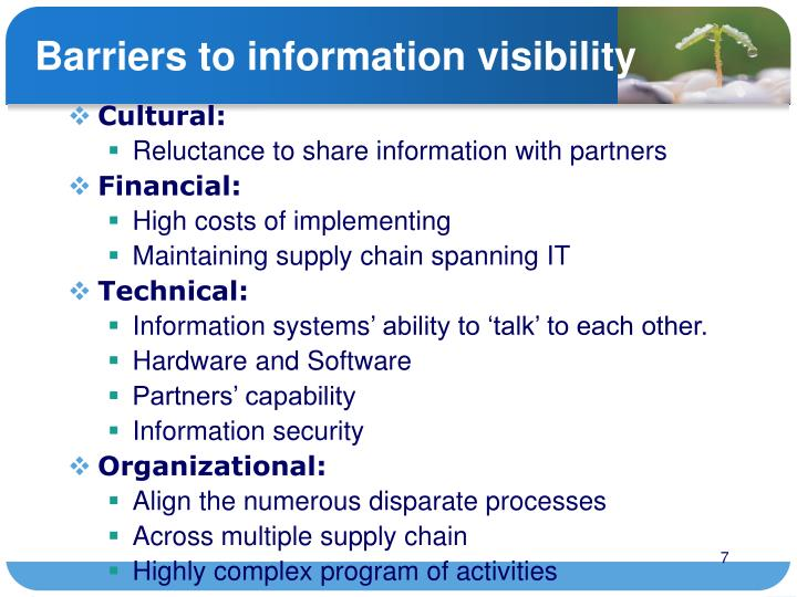 Barriers to information visibility
