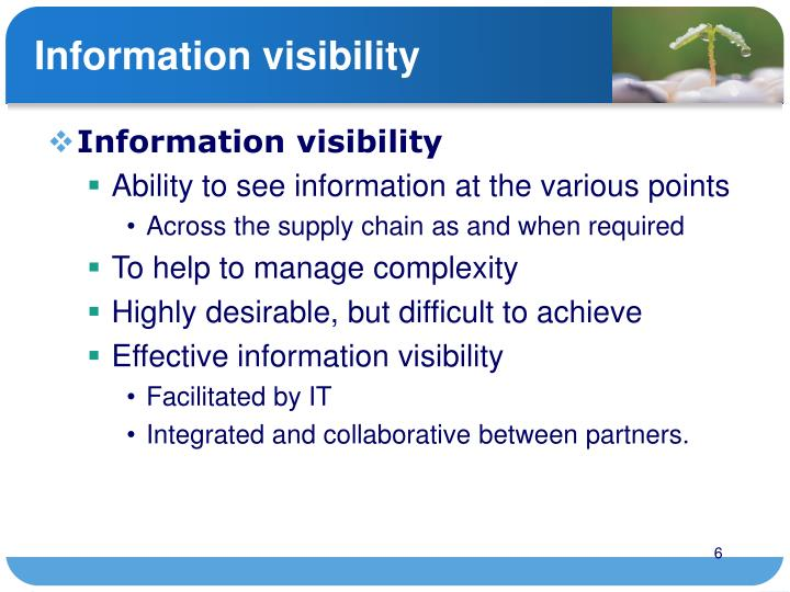 Information visibility