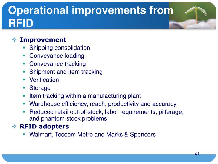 Operational improvements from RFID
