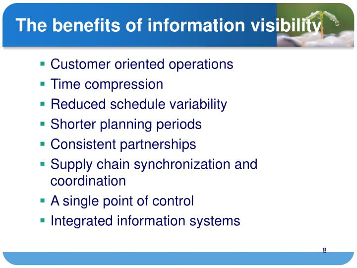 The benefits of information visibility