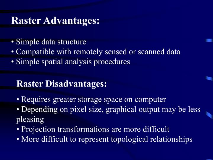 Raster Advantages: