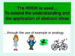 the hook is used to extend the understanding and the application of abstract ideas
