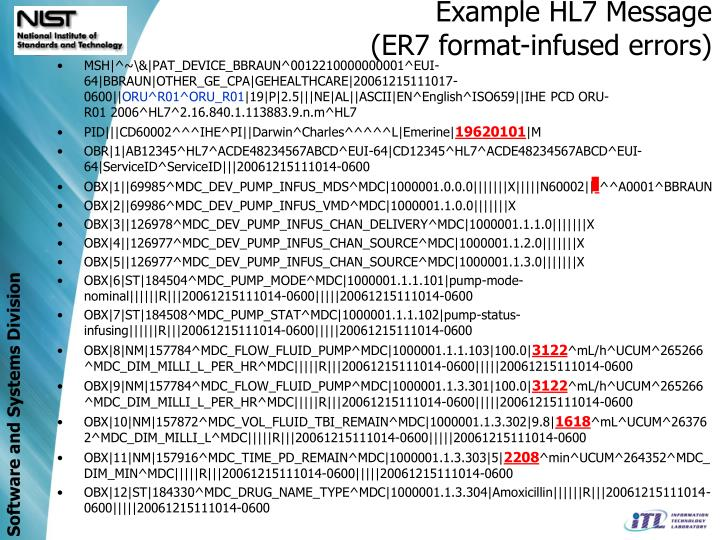 Example HL7 Message
