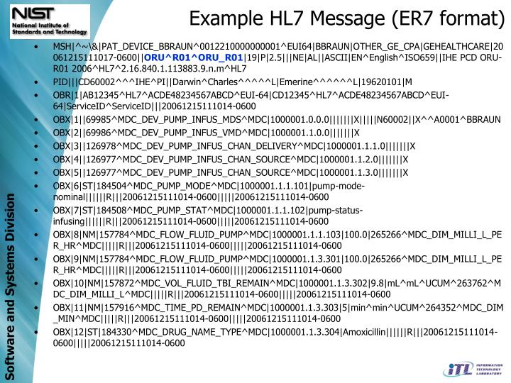 Example HL7 Message (ER7 format)