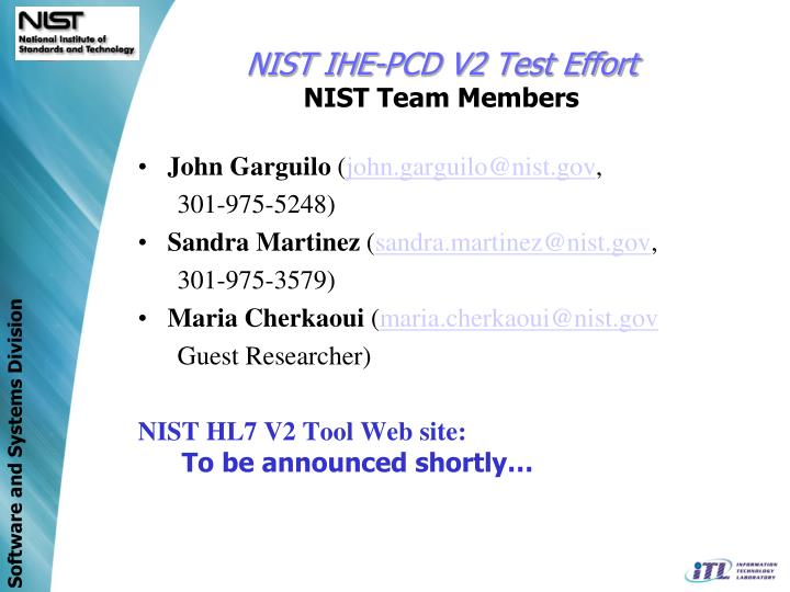 NIST IHE-PCD V2 Test Effort
