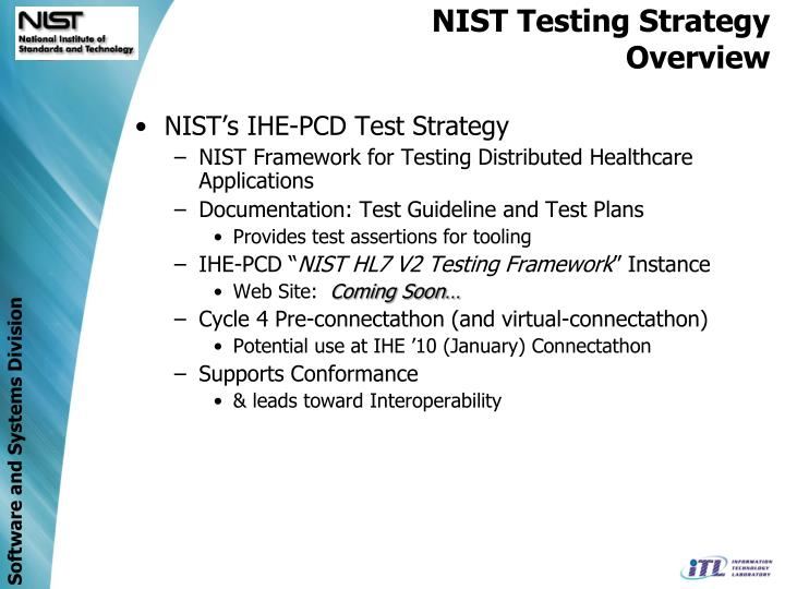 NIST Testing Strategy