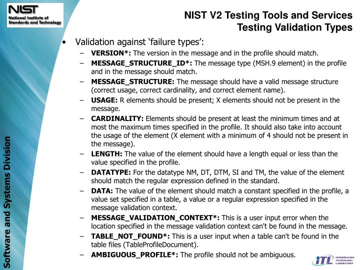NIST V2 Testing Tools and Services