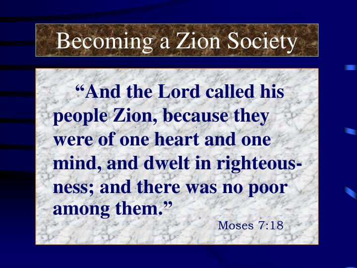 Becoming a Zion Society