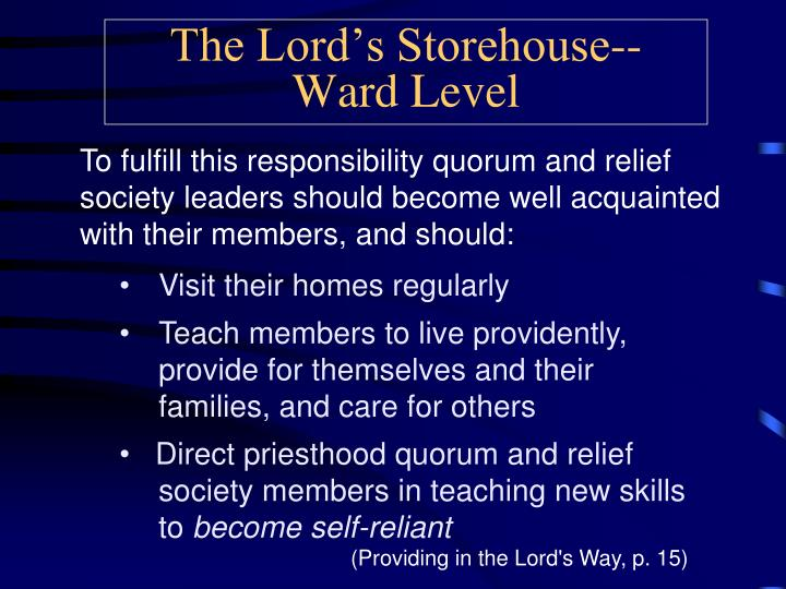 The Lord's Storehouse--