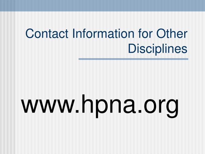 Contact Information for Other Disciplines
