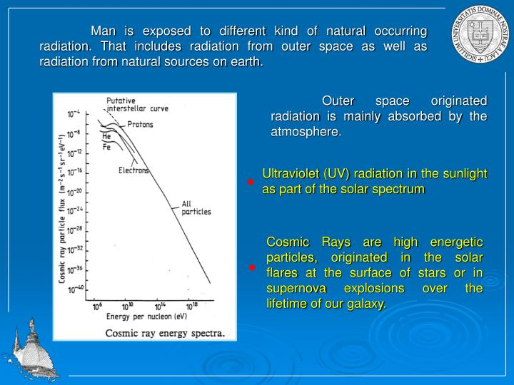 Man is exposed to different kind of natural occurring radiation. That includes radiation from outer space as well as radiation from natural sources on earth.