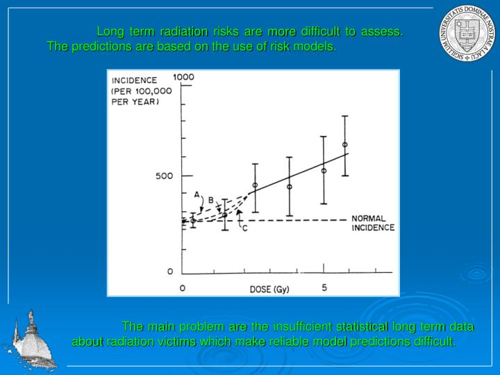 Long term radiation risks are more difficult to assess. The predictions are based on the use of risk models.