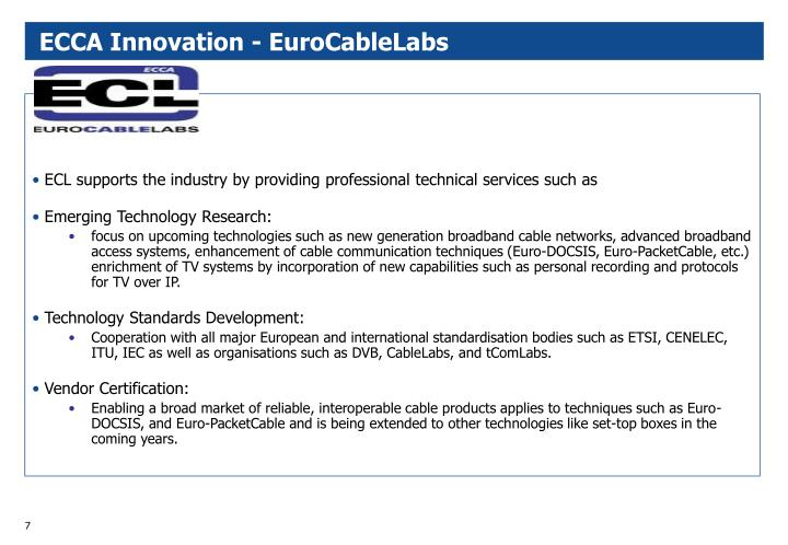 ECCA Innovation - EuroCableLabs