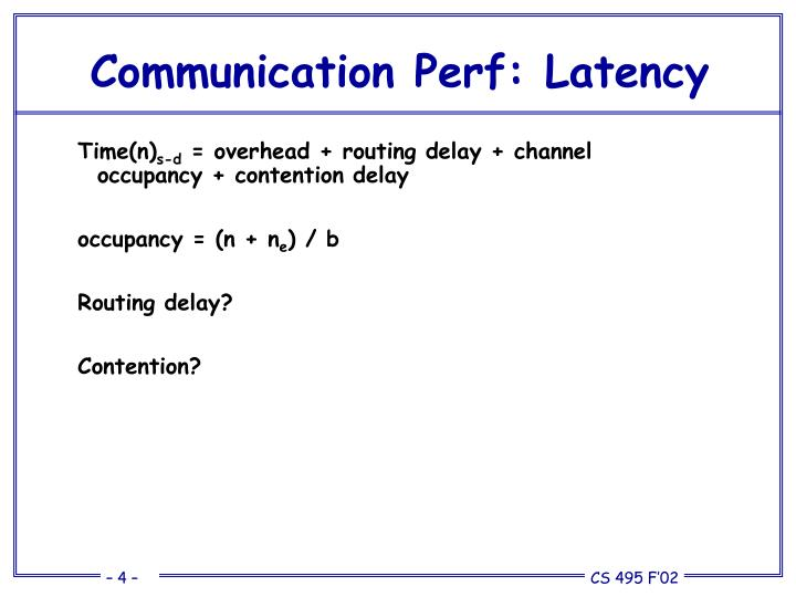 Communication Perf: Latency
