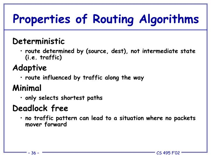 Properties of Routing Algorithms