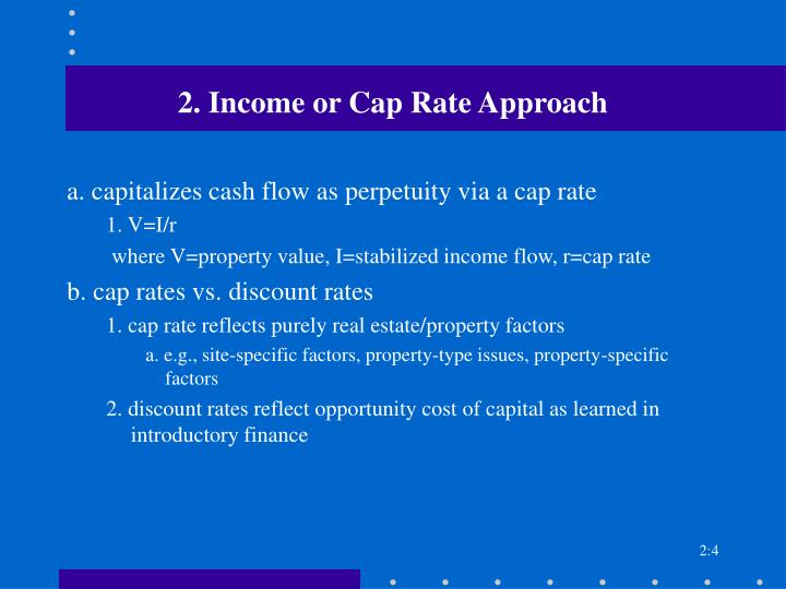 2. Income or Cap Rate Approach
