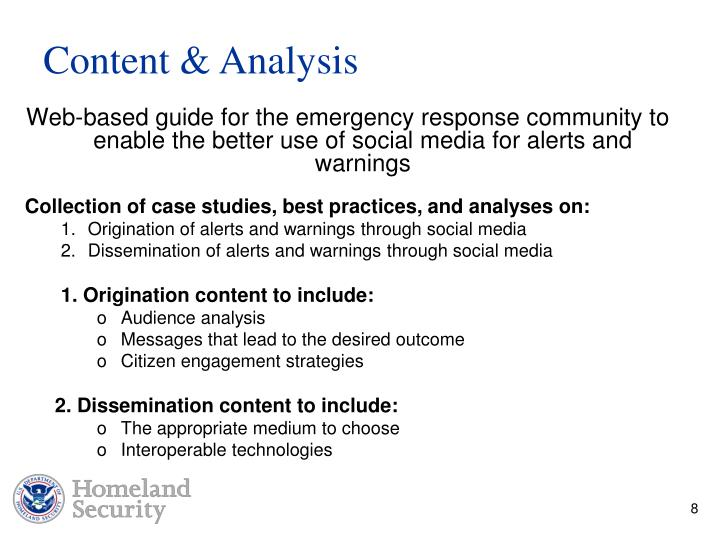 Web-based guide for the emergency response community to enable the better use of social media for alerts and warnings