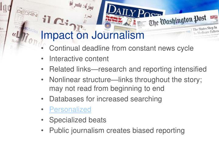 Impact on Journalism