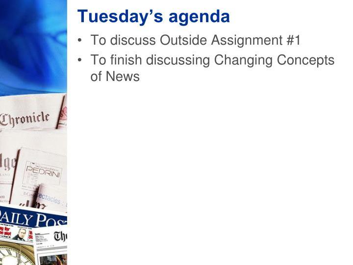 Tuesday's agenda