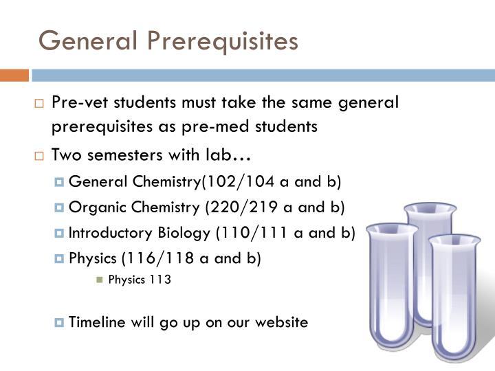 General Prerequisites