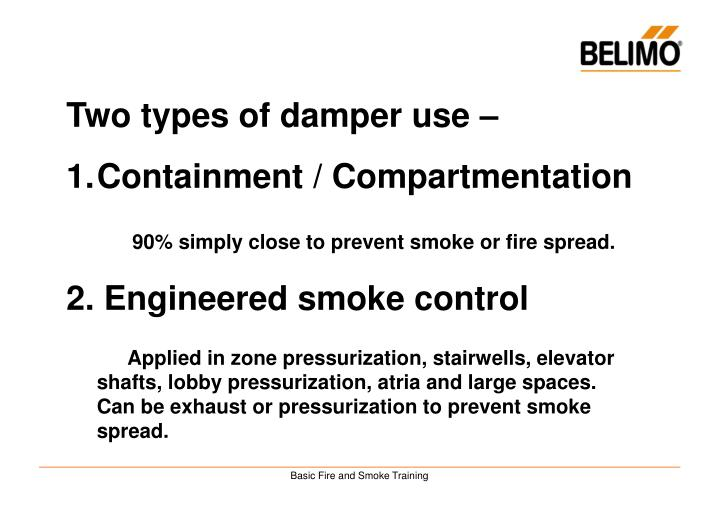 Two types of damper use –