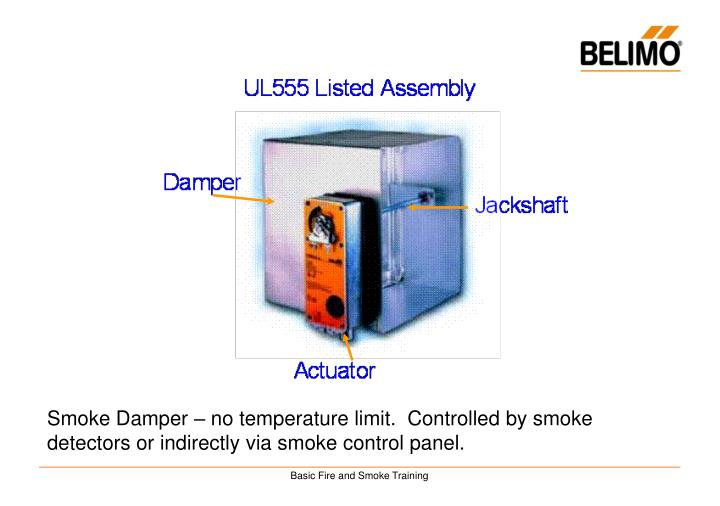 Smoke Damper – no temperature limit.  Controlled by smoke detectors or indirectly via smoke control panel.