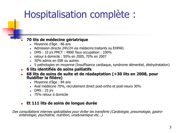 Hospitalisation complète :