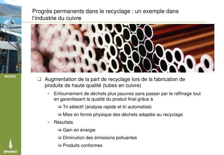 Progrs permanents dans le recyclage : un exemple dans lindustrie du cuivre