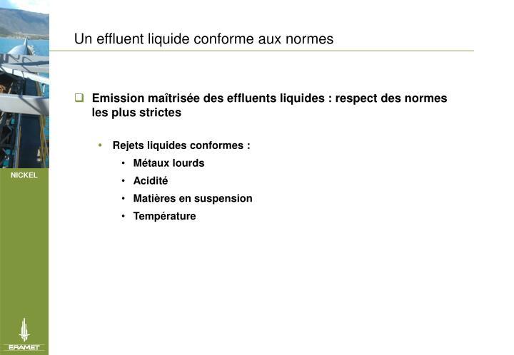 Un effluent liquide conforme aux normes