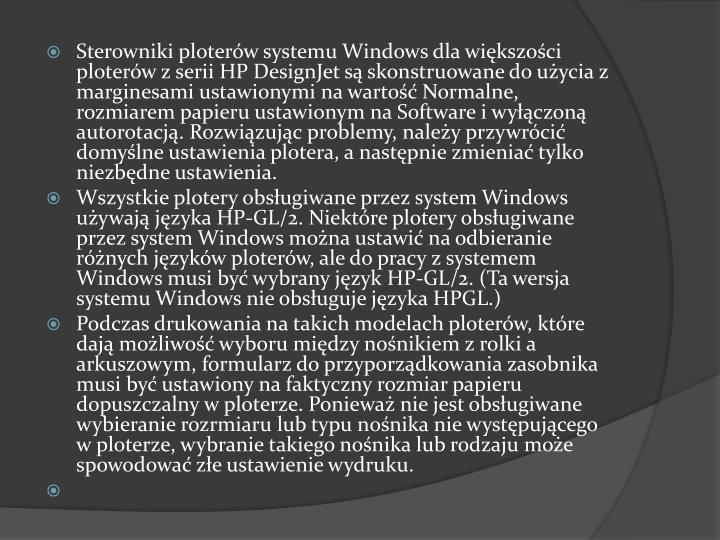 Sterowniki ploterów systemu Windows dla większości ploterów z serii HP