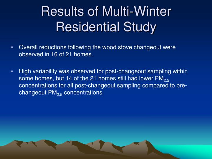 Results of Multi-Winter Residential Study