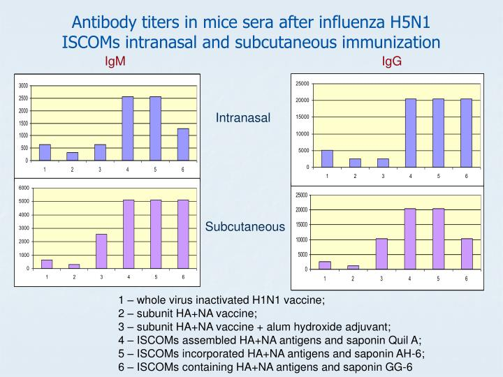 Antibody titers in mice sera after influenza H5N1