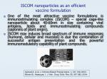 iscom nanoparticles as an efficient vaccine formulation
