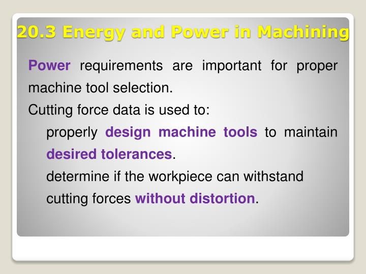 20 3 energy and power in machining