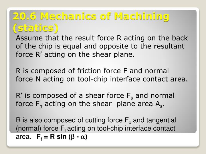 Assume that the result force R acting on the back of the chip is equal and opposite to the resultant force R' acting on the shear plane.