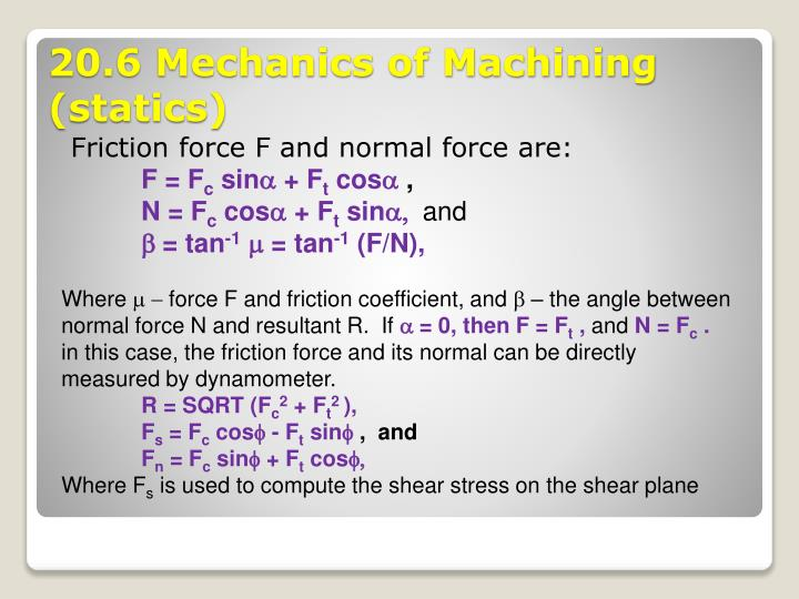 Friction force F and normal force are: