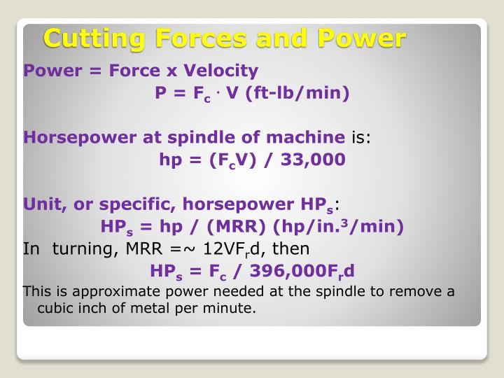 Power = Force x Velocity