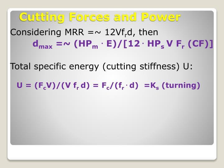 Considering MRR =~ 12Vf
