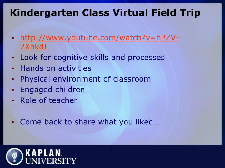 Kindergarten Class Virtual Field Trip