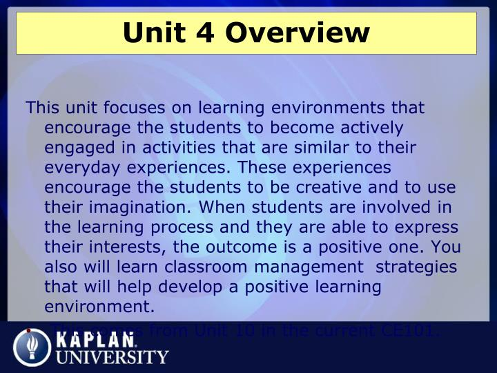 Unit 4 overview