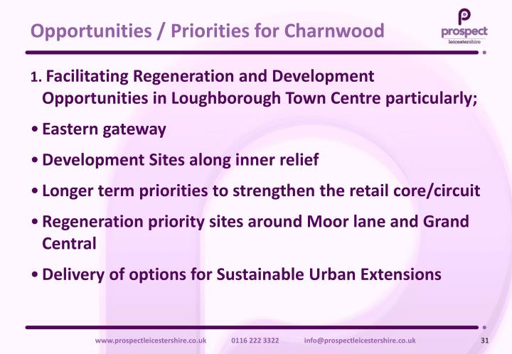 Opportunities / Priorities for Charnwood