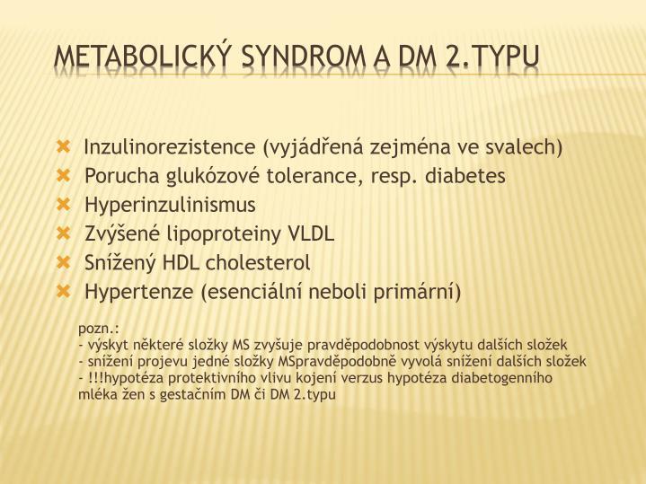 Inzulinorezistence (vyjádřená zejména ve svalech)